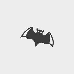 Bat icon in a flat design in black color. Vector illustration eps10