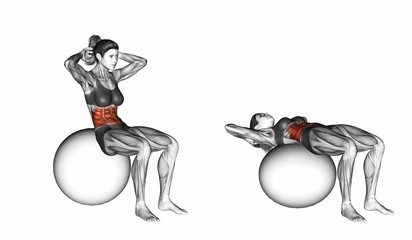 Ball Crunch. Exercising for Fitness. Target muscles are marked in red. Initial and final steps. 3D illustration