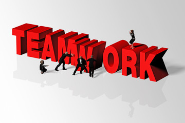 Teamwork Concept Illustrated by Teamwork Word and Group of People, 3D Rendering