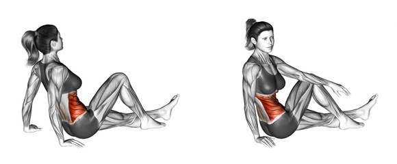 Dancer's Stretch. Exercising for Fitness. Target muscles are marked in red. Initial and final steps. 3D illustration