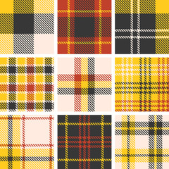 set of tartan seamless pattern, checkered pattern, plaid pattern, vintage style set 2