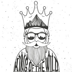 Vector illustration of bearded man with crown and sunglasses.