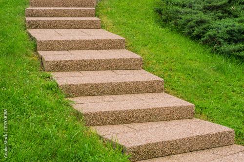 Aussentreppe Aus Rosa Waschbeton Im Garten External Staircase Of