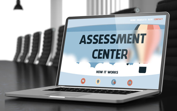 Assessment Center - Landing Page with Inscription on Mobile Computer Display on Background of Comfortable Meeting Room in Modern Office. Closeup View. Blurred. Toned Image. 3D Rendering.