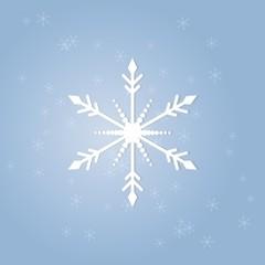 Vector illustration. White snowflake blue background