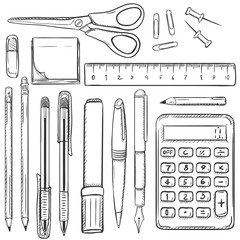Big Vector Set of Sketch Stationery Items.