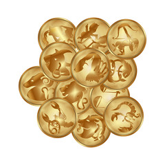 zodiacs signs on a gold disks