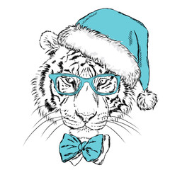 Tiger in Christmas hat and sunglasses. Print on a postcard or poster. Vector illustration. Holiday card. New Year's and Christmas. Santa Claus.