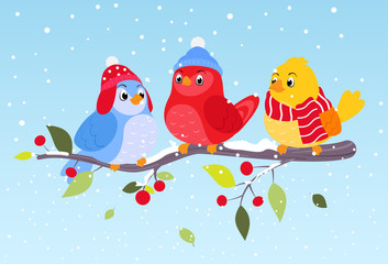 Colorful birds on winter scene