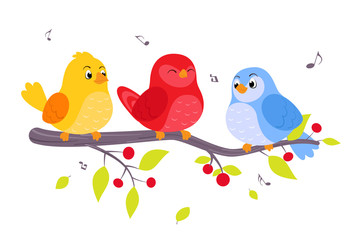 Colorful birds sitting on branch
