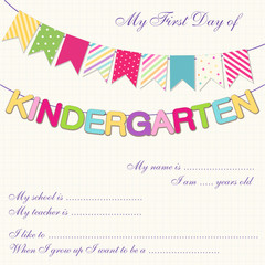 Cute First Day of Kindergarten interview card with bright festive buntings
