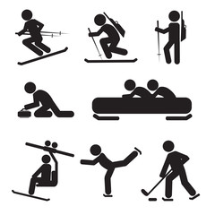 Winter Sport Icon Set Vector Illustration.