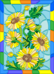 Illustration in stained glass style with flowers, buds and leaves of sunflowers