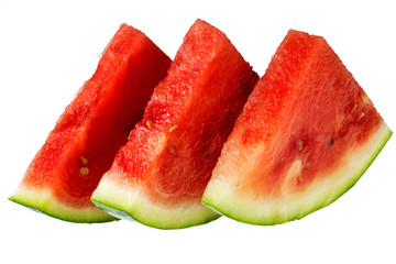 Three pieces of watermelon on white background. Fresh slices of watermelon isolated on white.