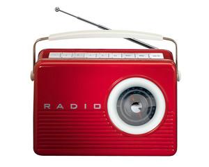 Red Retro Vintage Radio on white
