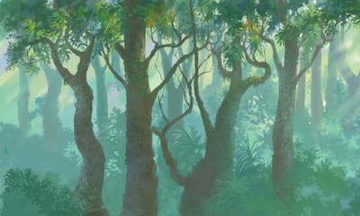 inside forest background painted illustration