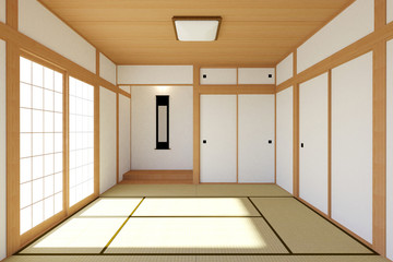 Empty Japanese living room interior in traditional and minimal design with Tatami mat floor and Japanese Shoji door, empty room interior, 3D rendering