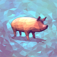 Low poly graphic 3D pig on blue background
