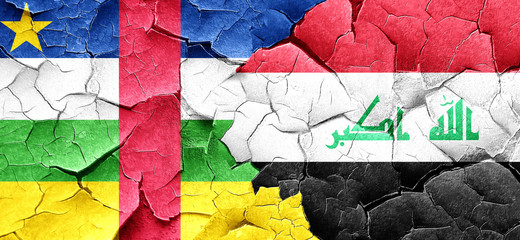 Central african republic flag with Iraq flag on a grunge cracked