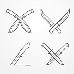 Collection of crossed army knives, line logo set, typical combat knife, crossed knives samples, stock knife vector illustration