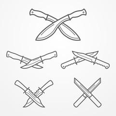 Collection of crossed hunter knives. Hunter knife line logo set. Typical hunter knives. Crossed knives samples. Hunter knife stock vector illustration.