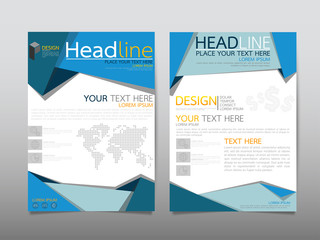 Blue fold business technology annual report brochure flyer design template vector, Leaflet cover presentation abstract geometric background, modern publication poster magazine, layout in A4 size