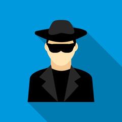 Detective icon, flat style