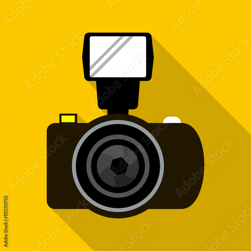 """""""Photo camera with flash icon, flat style"""" Stock image and ..."""