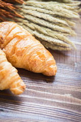 Croissant bread on the wood plate