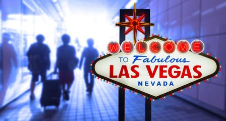 Las vegas sign on blur silhouette tourist background