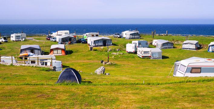 Camping at sea coast