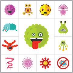 Virus Cartoon Character Icons Set