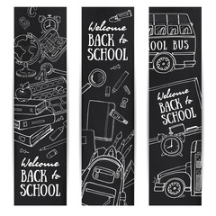 Sketch banner template with school object on chalkboard.