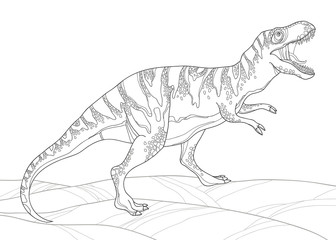 Vector illustration of Tyrannosaurus or tyrant lizard or Tyrannosaurus rex isolated on white. Series of prehistoric dinosaurs. Fossil animals and reptiles in contour style for coloring book.