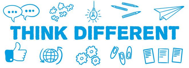Stick Figure Series Banner Blue / Think different