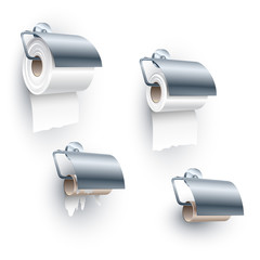 Toilet paper roll placed on a spindle in a back-facing under orientation, of full, half, ending and completely ended stages; Set of objects for the water closet; Eps10