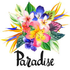 Illustration with realistic watercolor flowers. Paradise.