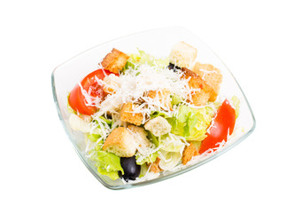 Delicious vegetable salad with croutons and cheese.