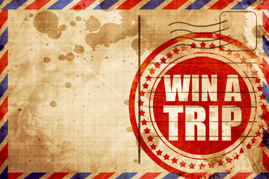 win a trip, red grunge stamp on an airmail background