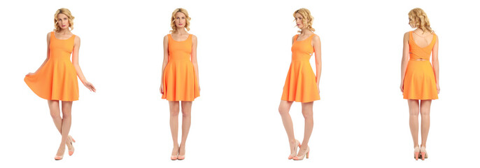 Beautiful blonde women in orange sexy dress isolated