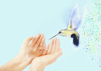 Hummingbird and hands. Contemporary painting.Background.Dream concept.