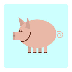 Funny smiling cartoon pig.  Vector illustration.