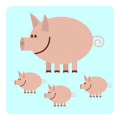 Mother pig with three little piggies.  Vector illustration.