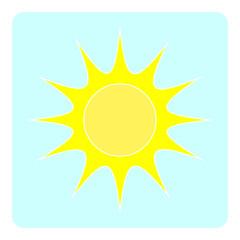 Yellow flat sun on blue background.  Vector illustration.