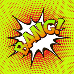 BANG pop art on a background of halftone