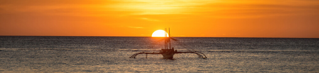 A wide view of the sea and sunset in Boracay island