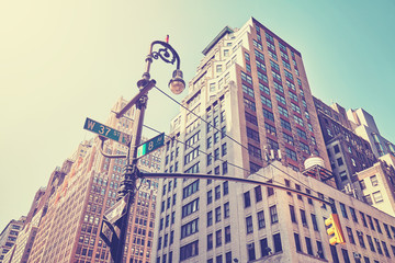 Vintage stylized street corner in Manhattan, New York.