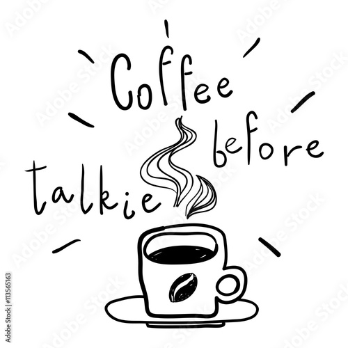 coffee before talkie line drawing doodles coffee cup vector illustration coffee before