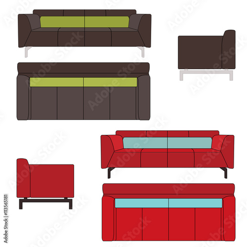 Sofa Set Flat Vector Illustration Top Front Side View