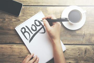 woman writing blog